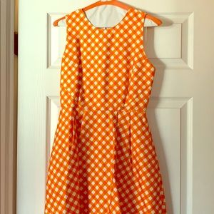 Kate Spade orange and white gingham silk dress